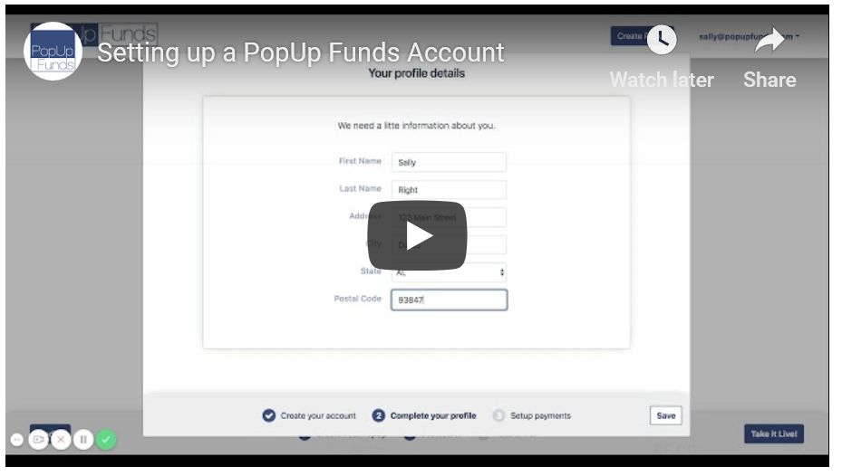 Setting Up a PopUp Funds Account